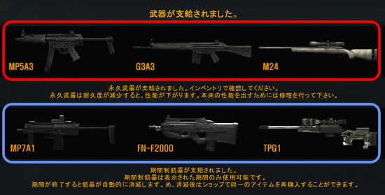 Alliance of Valiant Arms_支給武器