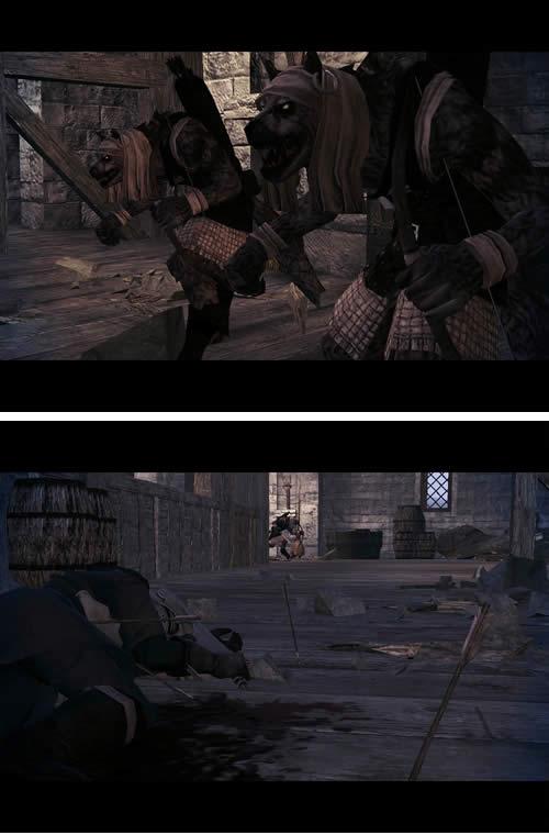 マビノギ英雄伝_プロローグムービー 待ち伏せしていたモンスターに倒される兵士達